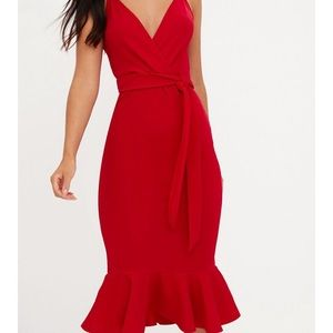 ef84f6855527 PrettyLittleThing Dresses - Red Strappy Tie Waist Fishtail Midi Dress